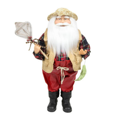 """18"""" Rustic Lodge Fisherman Santa Claus with Net and Fish Christmas Tabletop Decoration"""""""