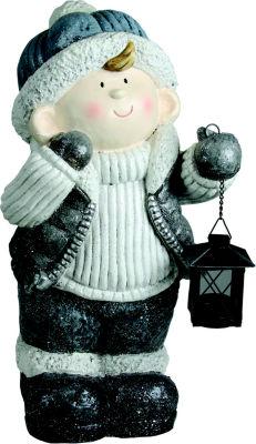 "18.5"" Snowy Woodlands Little Boy Holding Tea LightLantern Christmas Tabletop Figure"""