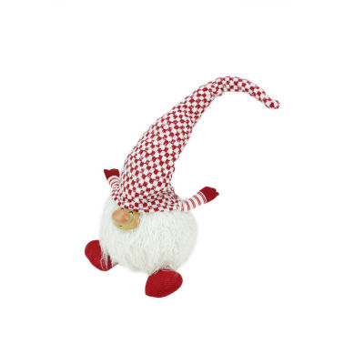 """12"""" Red and White """"Cheerful Charlie"""" Sitting Chubby Santa Gnome Table Top Christmas Figure"""""""