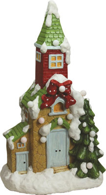 "21.25"" Christmas Morning Pre-Lit LED Snow CoveredChurch Decorative Christmas Tabletop Figure"""