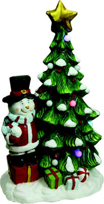 "23"" Christmas Morning Pre-Lit LED Tree with SantaSnowman Musical Christmas Tabletop Decoration"""