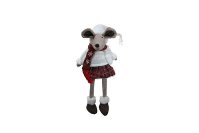 "24"" Cozy Winter Plaid Sitting Mouse Girl with Dangling Legs Decorative Christmas Figure"""