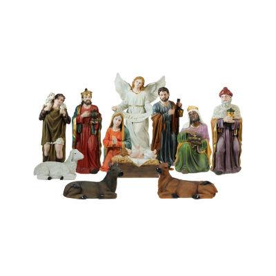"11-Piece Multi-Color Religious Christmas Nativity Figurine Set 39"""