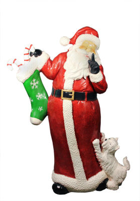 "48.5"" Commercial Size Santa Claus with Puppy Dog Christmas Display Decoration"