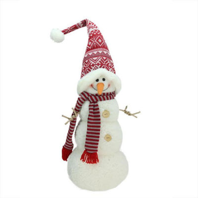 "27"" Snowman with Red and Gray Striped Scarf Christmas Tabletop Decoration"""