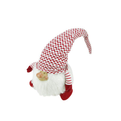 """14.75"""" Red and White """"Cheerful Charlie"""" Sitting Chubby Santa Gnome Table Top Christmas Figure"""