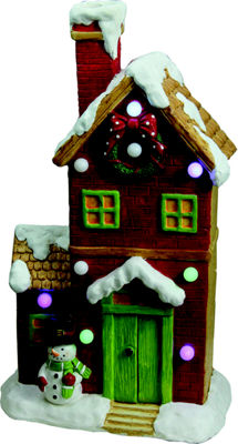 "21"" Christmas Morning Pre-Lit LED Snow Covered House with Snowman Musical Christmas Tabletop Decoration"""