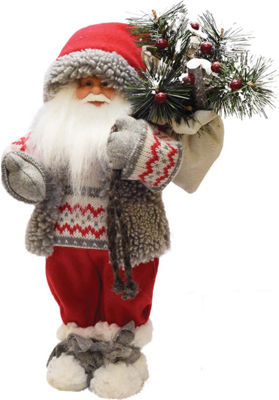 "12.5"" Santa in Winter Vest with Sack of Pine Christmas Figure Decoration"""