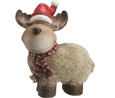 "17.25"" Whimsical Reindeer with Nordic Style Scarfand Santa Hat Christmas Table Top Decoration"
