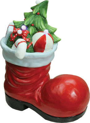 """19"""" Christmas Morning LED Lighted Santa Boot withPresents Musical Christmas Tabletop Decoration"""""""