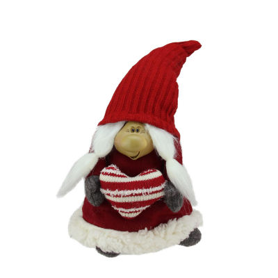 """13.5"""" Red and Gray Portly Smiling Woman Gnome Table Top Christmas Figure"""""""