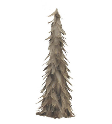 "19"" Light Brown and Gray Glittered Feather Cone Tree Christmas Decoration"""