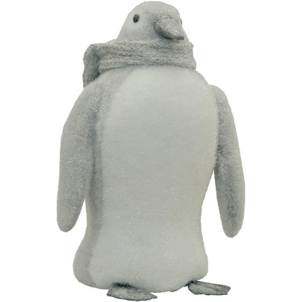 "15"" Gray and White Sparkling Penguin with Scarf Tabletop Decoration"""