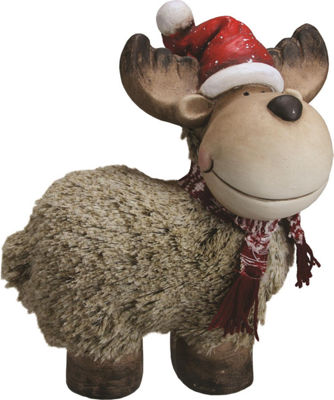 "12.25"" Whimsical Reindeer with Nordic Style Scarfand Santa Hat Christmas Table Top Decoration"""