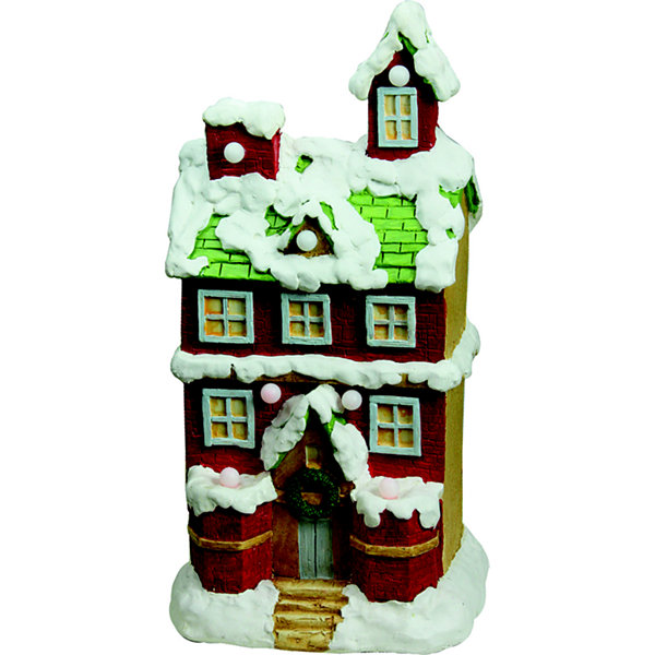 "21.25"" Christmas Morning Pre-Lit LED Snow Covered2 Story House Musical Christmas Tabletop Figure"""
