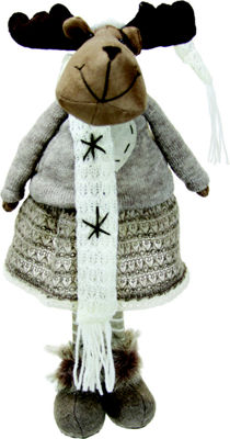 "20"" Gray and Brown Standing Girl Moose DecorativeChristmas Tabletop Figure"""