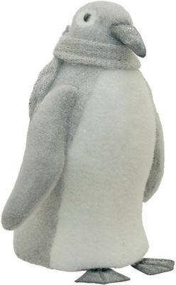 "18"" Gray and White Sparkling Penguin with Scarf Tabletop Decoration"""
