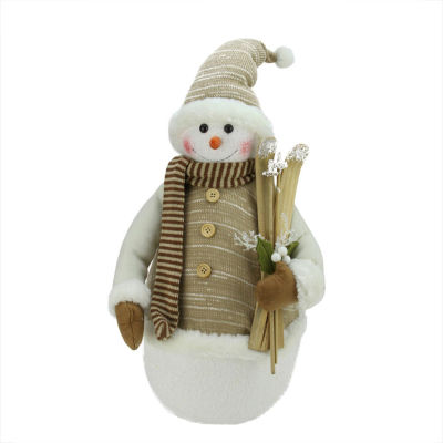 """20"""" Alpine Chic Brown and Beige Snowman with Skiisand Mistletoe Christmas Decoration"""""""