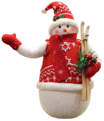 """20"""" Alpine Chic Sparkling Snowman with Nordic Style Santa Hat and Skiis Christmas Decoration"""""""