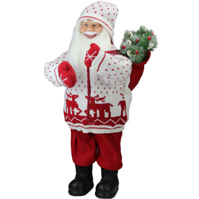 "25"" Retro Christmas Santa in Knit Deer Sweater with Sack of Pine Figure Decoration"""