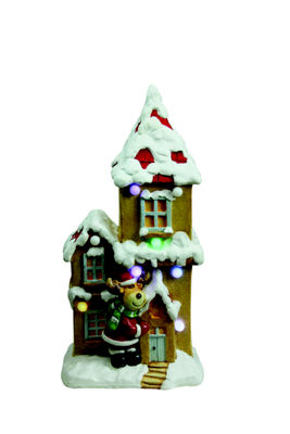 "21.25"" Christmas Morning Pre-Lit LED House with Reindeer Santa Musical Christmas Tabletop Decoration"""