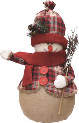 """22"""" Red and Brown Plaid Snowman with Broom  Scarfand Hat Table Top Christmas Figure"""""""