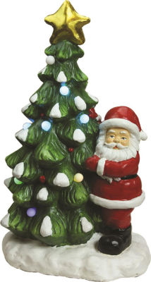 "21.25"" Christmas Morning LED Lighted Musical Santaand Christmas Tree Tabletop Figure"""