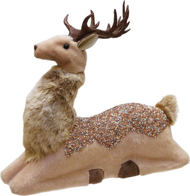"13.5"" Nature's Luxury Champagne Gold Sitting DeerChristmas Decoration"