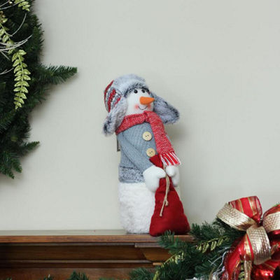 "15"" Gray and Red Snowman with Bag of Gifts Christmas Tabletop Decoration"""