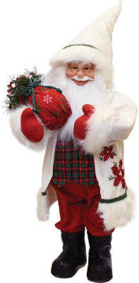 """25"""" Santa in Winter Flannel with Sack of Pine Christmas Figure Table Top Decoration"""""""