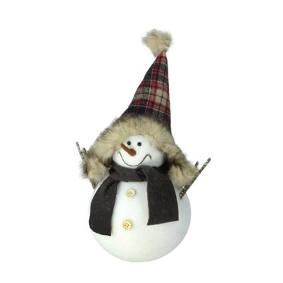 "13"" Decorative Portly Snowman in Plaid Trapper HatChristmas Tabletop Decoration"""