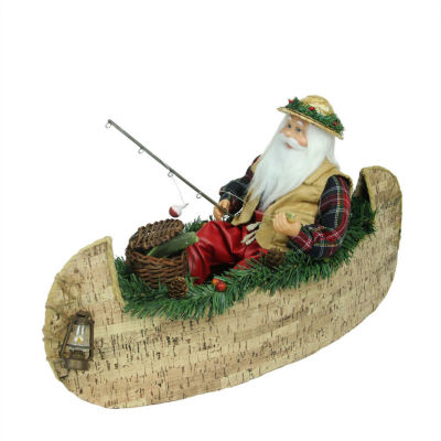 """18.5"""" Rustic Lodge Fishing Santa Claus in a CanoeChristmas Tabletop Decoration"""""""