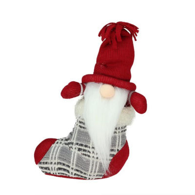 """10"""" Gray and Red """"Tristan"""" Gnome in Christmas Stocking Tabletop Decoration"""""""