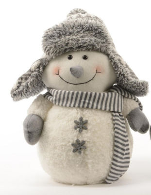"""12"""" Winter Light Snowman with Gray Bombardier Hat and Snowflake Buttons Christmas Decoration"""