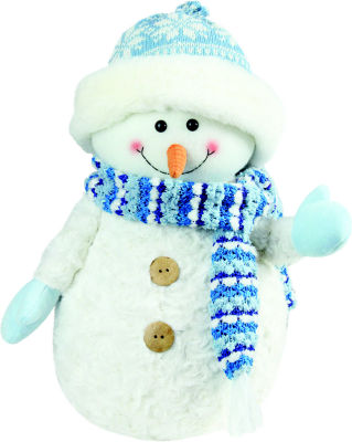 """12.5"""" Arctic Blue and White Snowman Wearing Knit Hat Christmas Decoration"""""""