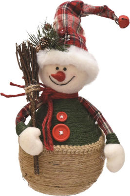 """14.5"""" Green and Red Plaid Snowman with Broom TableTop Christmas Figure"""