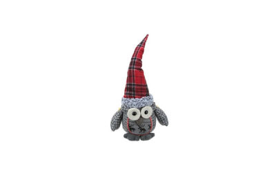 "16.75"" Gray Basket Weave and Red Plaid Sitting OwlDecorative Christmas Tabletop Figure"""