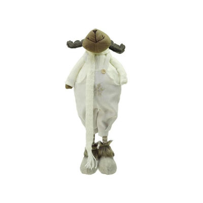 "26"" White and Brown Standing Boy Moose DecorativeChristmas Tabletop Figure"""