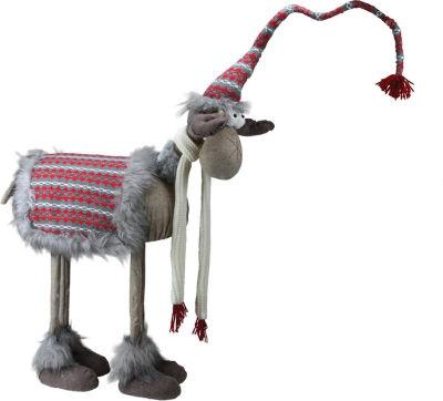 "29"" Decorative Standing Bobble Action Nordic Christmas Moose Figure"""