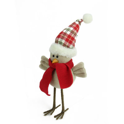 "10"" Cream Standing Bird with Scarf and Plaid Hat Christmas Tabletop Decoration"""