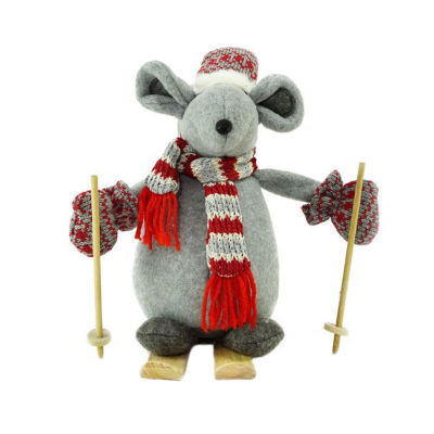 """11.75"""" Adventurous Skiing Mouse Christmas TabletopDecoration"""""""
