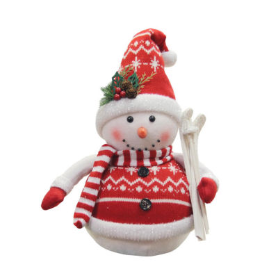 """12"""" Alpine Chic Red and White Sparkling Snowman with Skiis Christmas Decoration"""""""