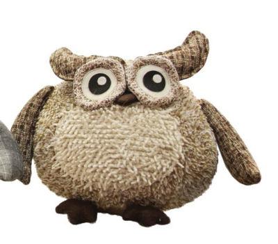 "12"" Charming Brown Plaid Owl w/ Textured Ivory Plush Table Top Christmas Figure"""