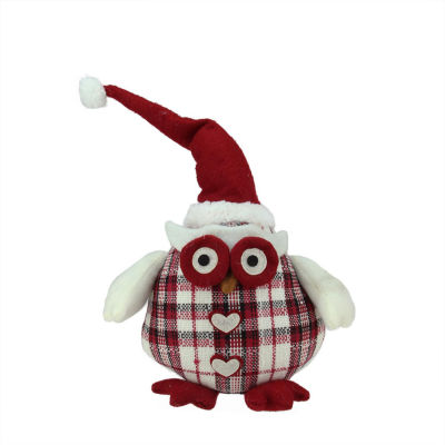 "12"" Chubby Red and White Plaid Owl with Santa Hatand Heart Buttons Table Top Christmas Figure"""