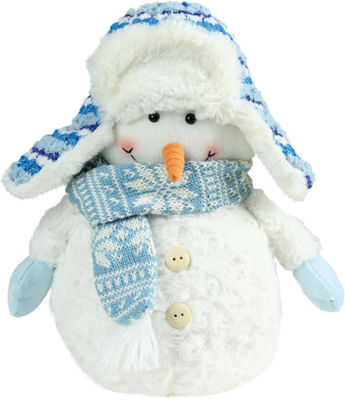"11.5"" Arctic Blue and White Snowman Wearing Trapper Hat Christmas Decoration"""