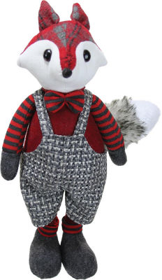 "15.5"" Charming Plaid Country Boy Fox Decorative Christmas Tabletop Figure"""