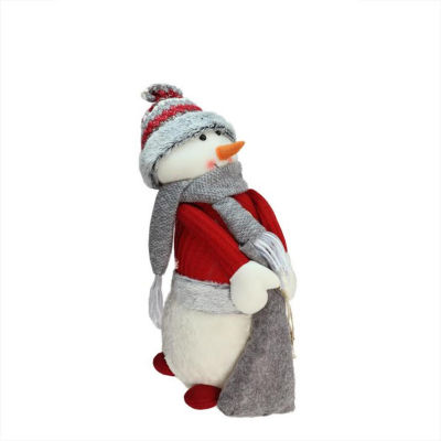 "15.75"" Red and Gray Snowman with Bag of Gifts Christmas Tabletop Decoration"""