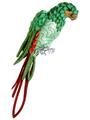 "22.5"" Life Size Tropical Paradise Green and Red Parrot Bird with Tail Feathers"""