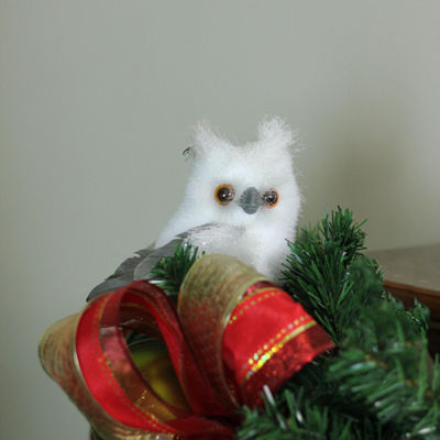 "4.5"" Sparkling White and Gray Horned Owl ChristmasTabletop Decoration"""