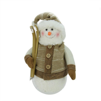 """10"""" Alpine Chic Brown and Beige Snowman with Skiisand Mistletoe Christmas Decoration"""""""